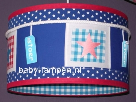 jongenslamp stoer met labels kobaltblauw rood sterren