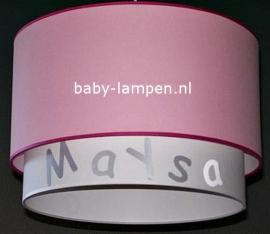 meisjeslamp met naam roze wit zilver