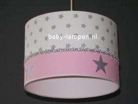 meisjeslamp wit grijze sterren roze zilveren sterren