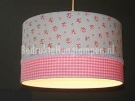 meisjeslamp lichblauw roosjes roze ruitje