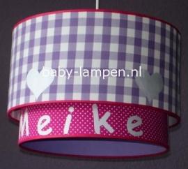 meisjeslamp met naam fuchsia paars roze lila zilver hartjes