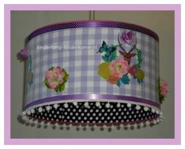 meisjeslamp lila ruit paarse stipjes bloemen en hertjes