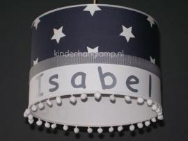 meisjeslamp met naam antraciet witte sterren en bolletjes