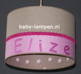 meisjeslamp met naam roze beige sterren
