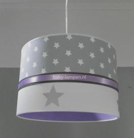 meisjeslamp lichtgrijze sterren zilveren sterren en lila