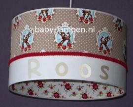 meisjeslamp met naam en hertjes beige en rood
