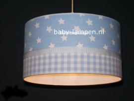 Jongenslamp lichtblauwe sterren en ruitjes
