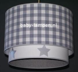 jongenslamp grijze ruit en zilveren sterren