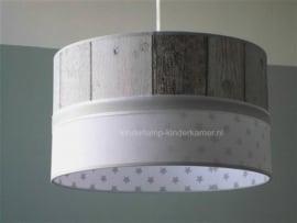 Jongenslamp steigerhout effen wit grijze sterren