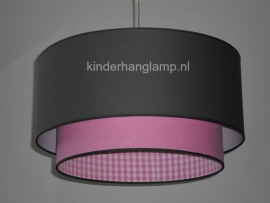 meisjeslamp antraciet en roze