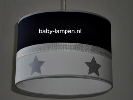 Jongenslamp effen donkerblauw wit zilveren sterren