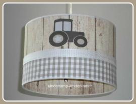 Jongenslamp beige steigerhout  3x tractor
