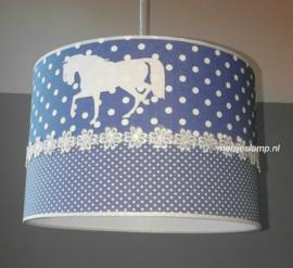 paardenlamp oud blauw en wit