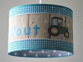 Jongenslamp met naam Wout en tractor