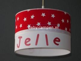 Jongenslamp met naam rood witte sterren
