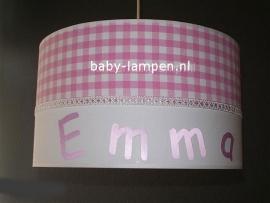 meisjeslamp met naam Emma roze ruitje