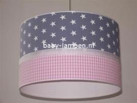 meisjeslamp lichtgrijs witte sterren roze ruije