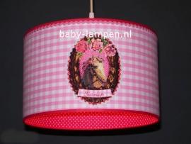 meisjeslamp 3x paardje en naam roze fuchsia