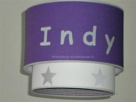 meisjeslamp met   naam paars wit zilver sterren