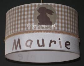 Meisjeslamp met naam  konijntje bruin beige