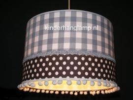 meisjeslamp grijze ruit antraciet witte stipjes