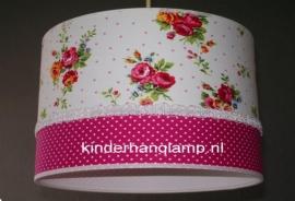 meisjeslamp wit roze roosjes fuchsia stipje