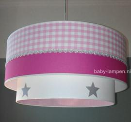 kinderlampen fuchsia roze zilver sterren
