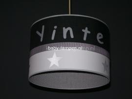 meisjeslamp met naam antraciet  grijs zilver sterren