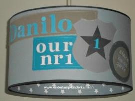 jongenslamp Danillo grijs antraciet blauw sterren