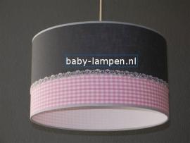 meisjeslamp effen antraciet roze ruitje zilver bandje