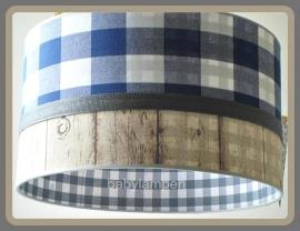 Jongenslamp kobaltblauwe superruit steigerhout en grijs ruitje
