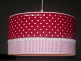 meisjeslamp rood witte stippen roze ruitjes