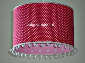 meisjeslamp fuchsia stipjes roze witte sterren witte bolletjes
