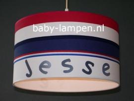 Jongenslamp met naam Jesse rood wit blauw