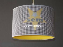 Jongenslamp met naam 3x ster Sem geel en grijs