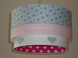 meisjeslamp lichtblauw roosjes roze fuchsia witte hartjes zilver hartjes
