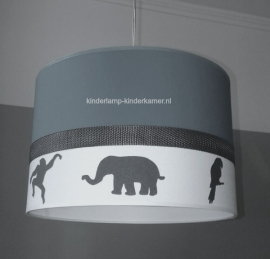 jongenslamp antraciet met stoffen dieren