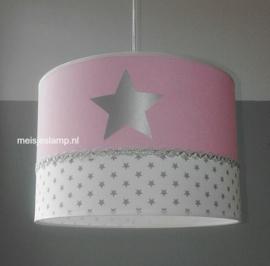 meisjeslamp roze wit 3x zilver sterren