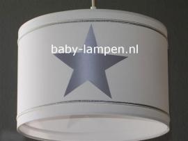 Jongenslamp effen wit 3x zilver ster en bandjes