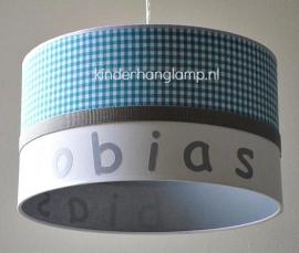 Jongenslamp met naam Tobias blauw wit grijs