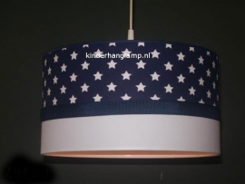 Jongenslamp donkerblauw witte sterren witte rand