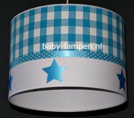 Jongenslamp aquablauwe ruit en sterren