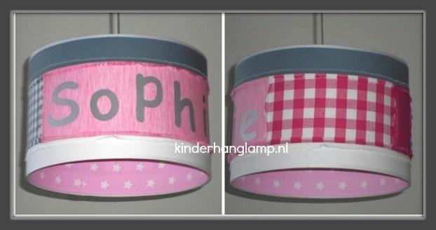 meisjeslamp stoer met naam roze grijs fuchsia