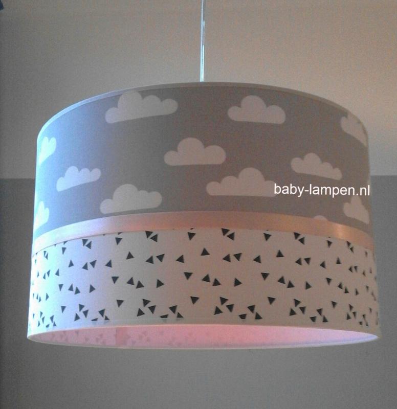 meisjeslamp grijze wolkjes en roze