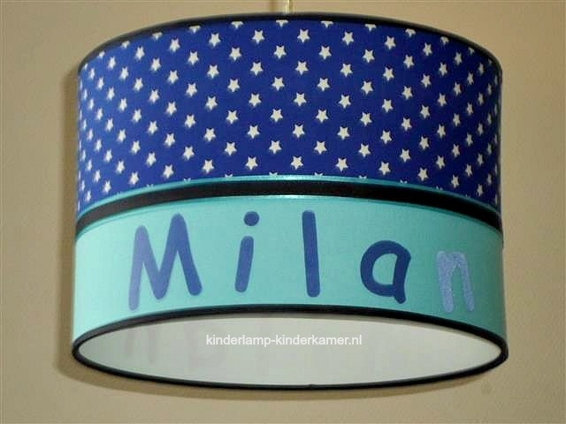 Jongenslamp met naam kobaltblauwe sterren en aquablauw