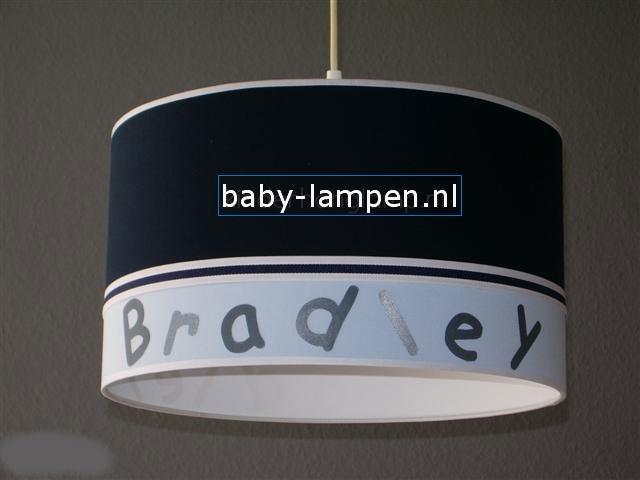 Jongenslamp met naam donkerblauw lichtblauw