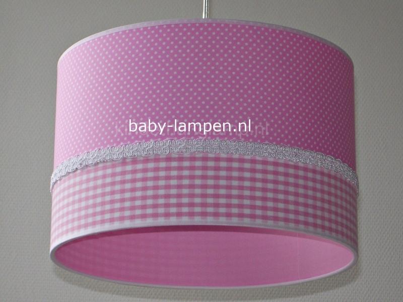 meisjeslamp roze stipjes en ruitjes