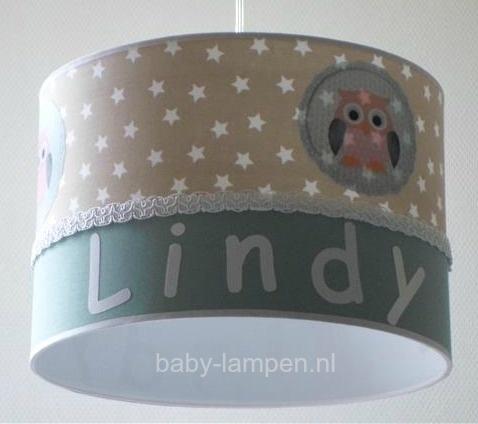 meisjeslamp met naam beige sterren 3x uiltje en oldgreen
