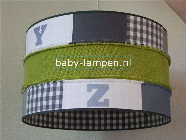jongenslamp stoer groen grijs wit en letters
