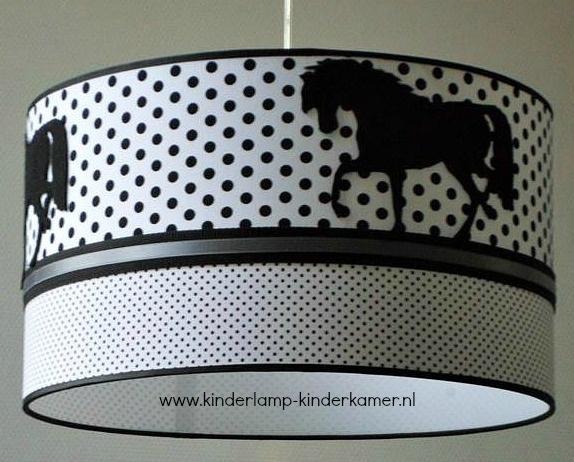 meisjeslamp 3x paard zwart en stipjes